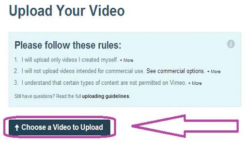 добавить видео на vimeo